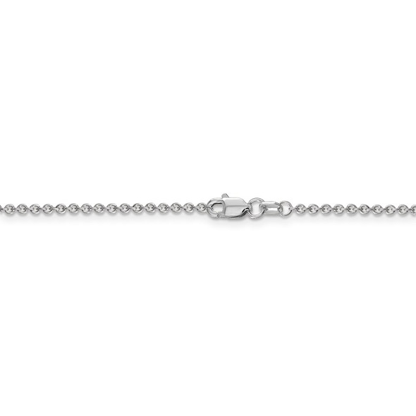 """18"""" 14k White Gold 1.6mm Round Open Link Cable Chain Necklace"""