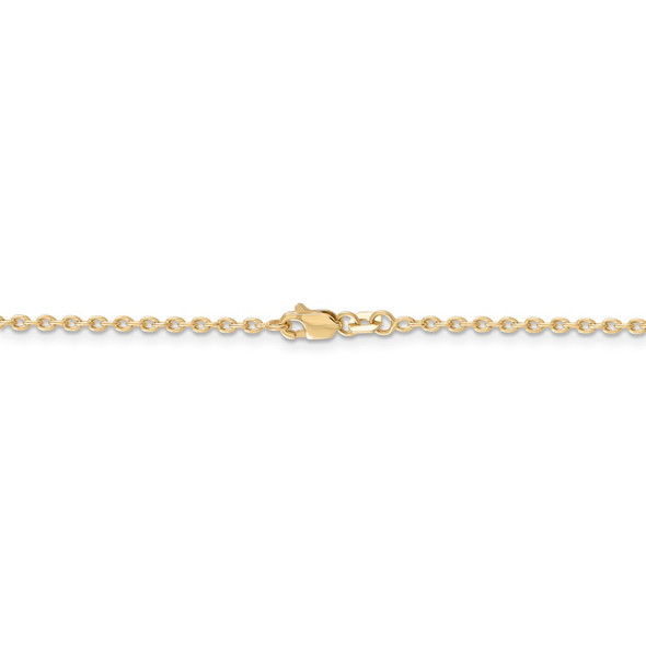 """16"""" 14k Yellow Gold 2mm Round Open Link Cable Chain Necklace"""