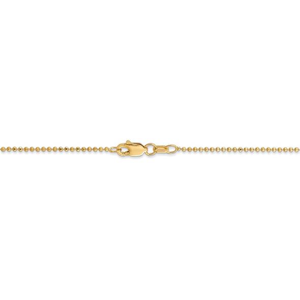 "14"" 14k Yellow Gold 1.2mm Diamond-cut Beaded Pendant Chain Necklace"
