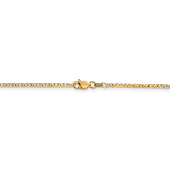 """14"""" 14k Yellow Gold 1.5mm Lightweight Flat Anchor Link Pendant Chain Necklace"""