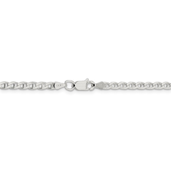 """16"""" Sterling Silver 3.15mm Flat Cuban Anchor Chain Necklace"""