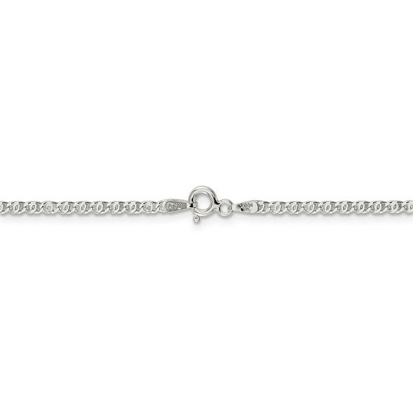 """16"""" Sterling Silver 2mm Fancy Anchor Pendant Chain Necklace"""