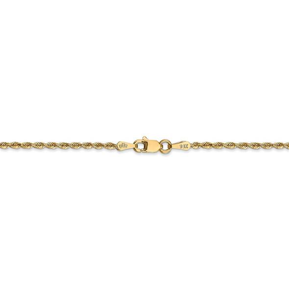"14"" 14k Yellow Gold 1.85mm Diamond-cut Quadruple Rope Chain Necklace"