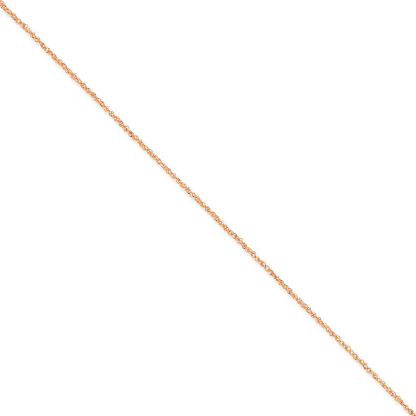 "10"" 14K Rose Gold 1.7mm Ropa Chain Anklet"