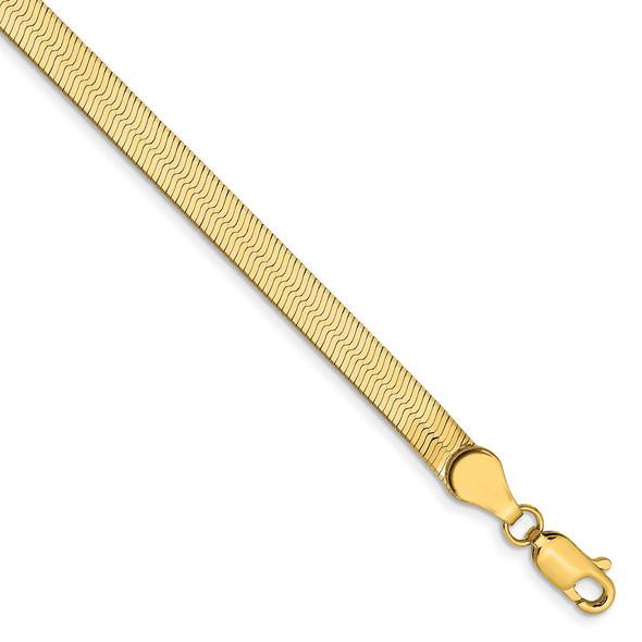 "7"" 14k Yellow Gold 4mm Silky Herringbone Chain Bracelet"