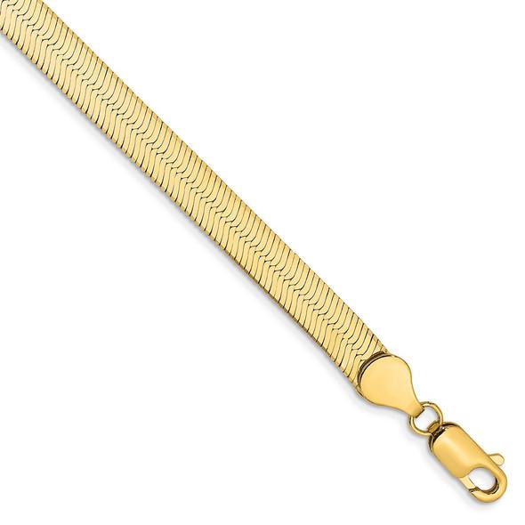 "7"" 14k Yellow Gold 5.5mm Silky Herringbone Chain Bracelet"
