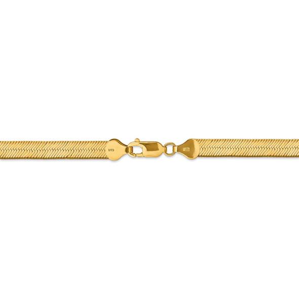 "16"" 14k Yellow Gold 6.5mm Silky Herringbone Chain Necklace"