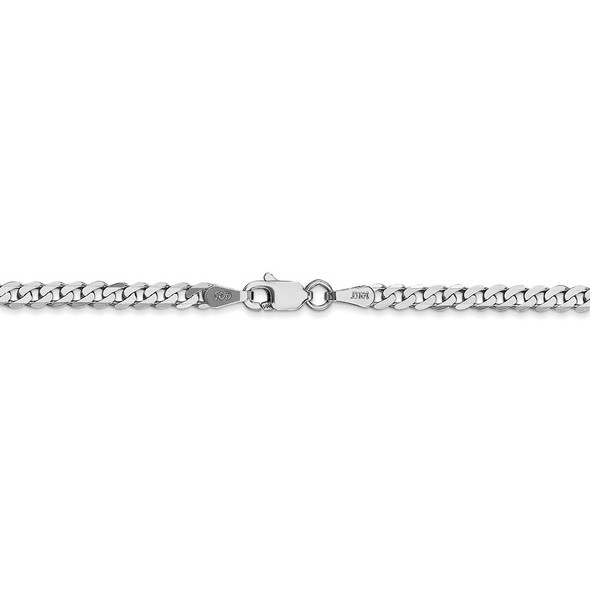 "16"" 14k White Gold 2.9mm Flat Beveled Curb Chain Necklace"