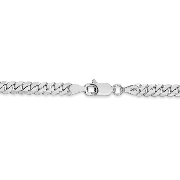 """16"""" 14k White Gold 3.9mm Flat Beveled Curb Chain Necklace"""
