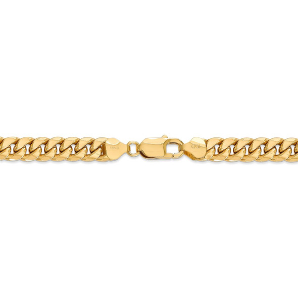 "18"" 14k Yellow Gold 7.3mm Semi-Solid Miami Cuban Chain Necklace"