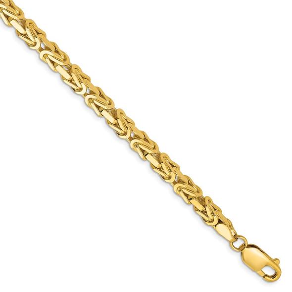 "8"" 14k Yellow Gold 4mm Byzantine Chain Bracelet"