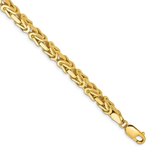 "8"" 14k Yellow Gold 5.25mm Byzantine Chain Bracelet"
