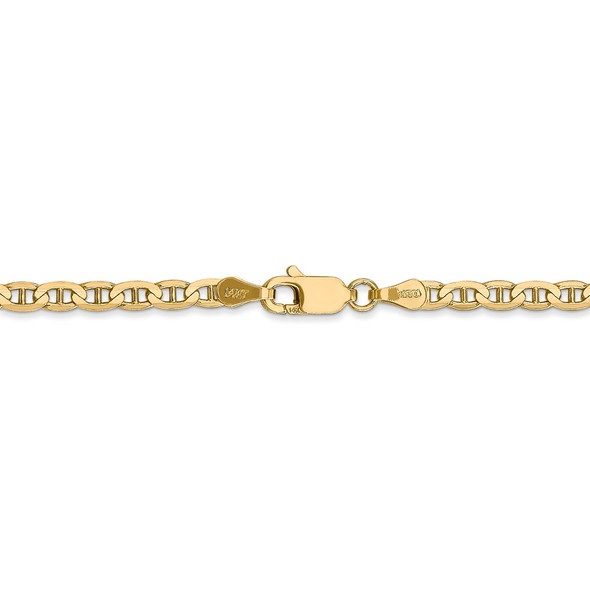 """16"""" 14k Yellow Gold 3mm Concave Anchor Chain Necklace"""