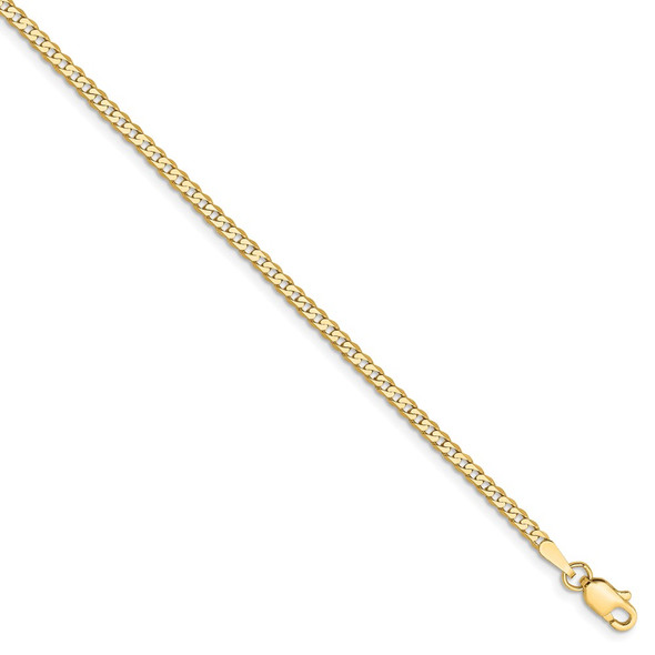 """10"""" 14k Yellow Gold 2.2mm Flat Beveled Curb Chain Anklet"""