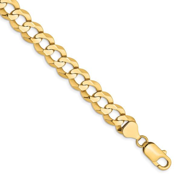 """7"""" 14k Yellow Gold 9.4mm Lightweight Flat Cuban Chain Bracelet"""