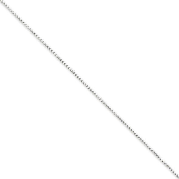 "10"" 14k White Gold 1.25mm Solid Polished Spiga Chain Anklet"