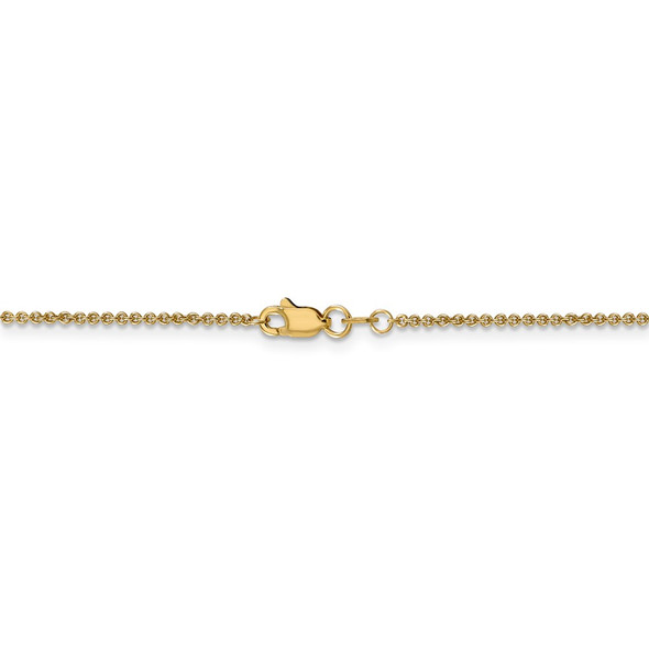 """14"""" 14k Yellow Gold 1.4mm Round Open Link Cable Chain Necklace"""