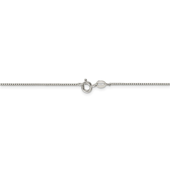 """14"""" Sterling Silver Rhodium-plated .9mm Box Chain Necklace"""
