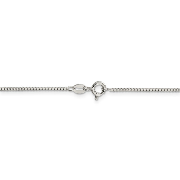 """14"""" Rhodium-plated Sterling Silver 1.1mm Box Chain Necklace"""