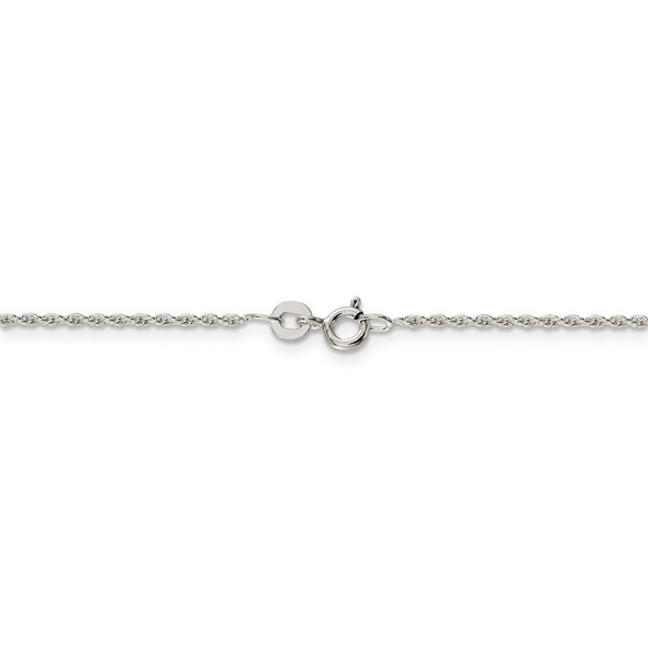 """14"""" Rhodium-plated Sterling Silver 1.3mm Loose Rope Chain Necklace"""