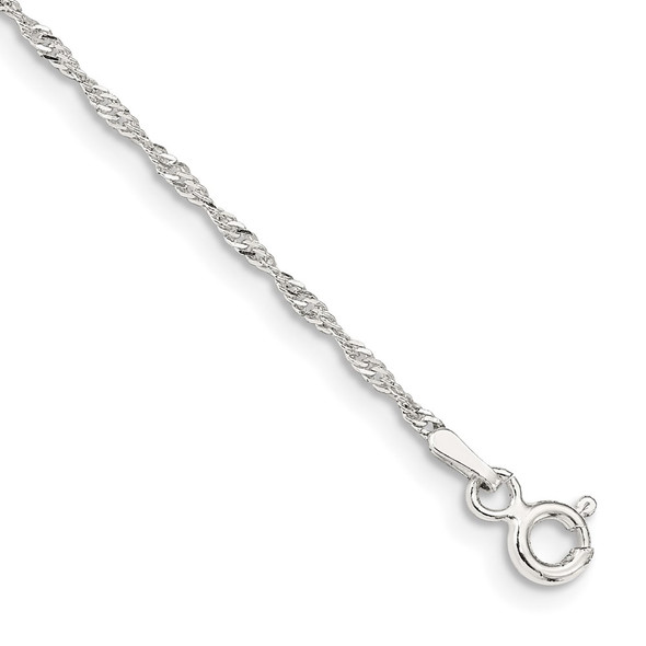 """9"""" Sterling Silver 1.4mm Singapore Chain Anklet"""