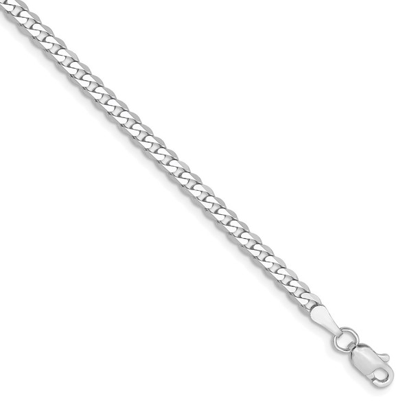 "7"" 14k White Gold 2.9mm Flat Beveled Curb Chain Bracelet"