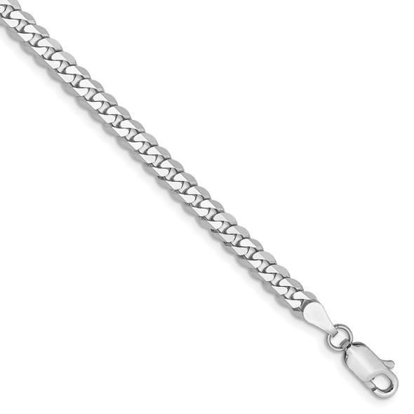 "7"" 14k White Gold 3.9mm Flat Beveled Curb Chain Bracelet"