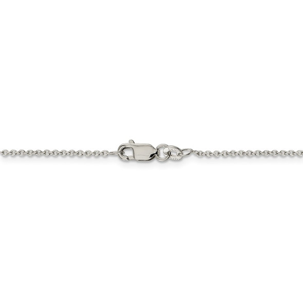 """14"""" Rhodium-plated Sterling Silver 1.25mm Cable Chain Necklace"""