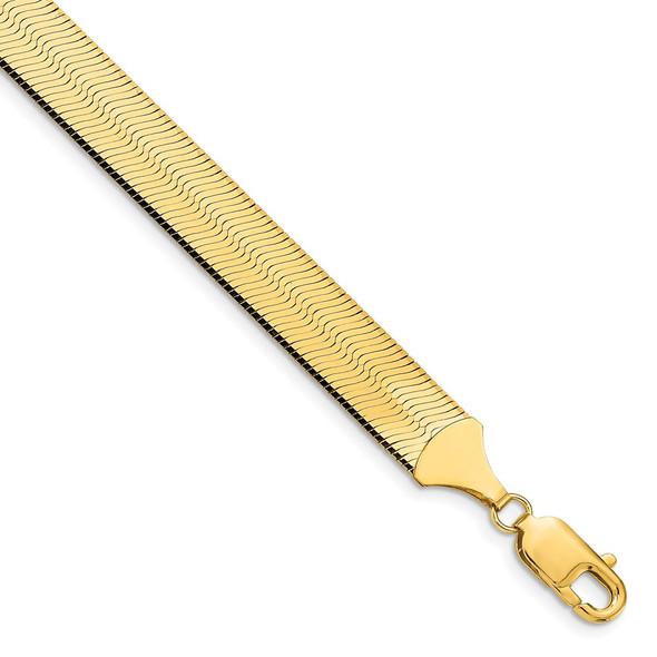 "8"" 14k Yellow Gold 10mm Silky Herringbone Chain Bracelet"
