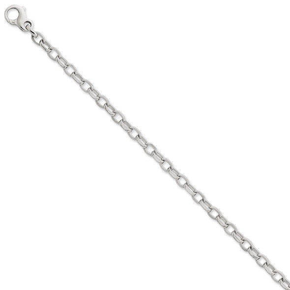 "8.5"" 14k White Gold 5mm Polished w/Ridged Edges Link Bracelet"