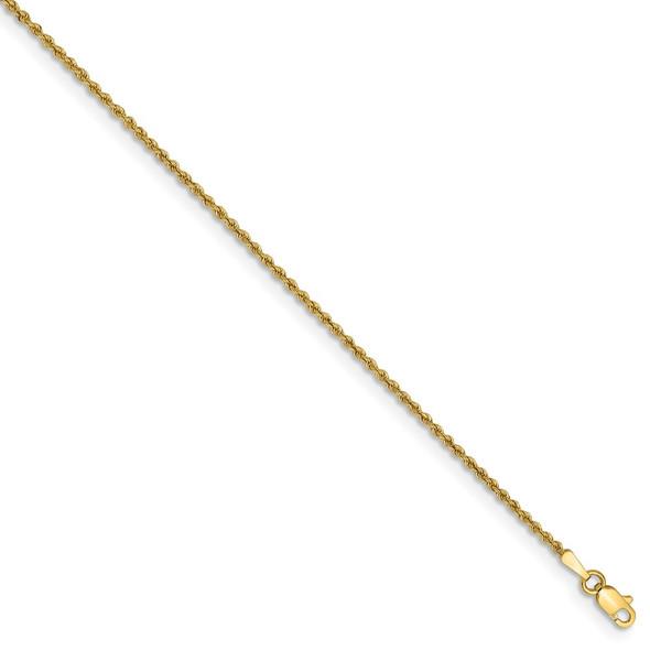 """5.5"""" 14k Yellow Gold 1.50mm Regular Rope Chain Bracelet"""