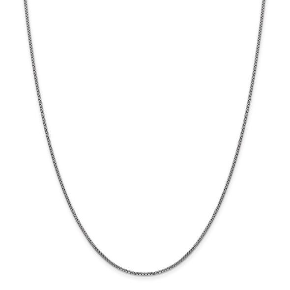 "7"" 14k White Gold 1.5mm Semi-Solid Round Box Chain Bracelet"
