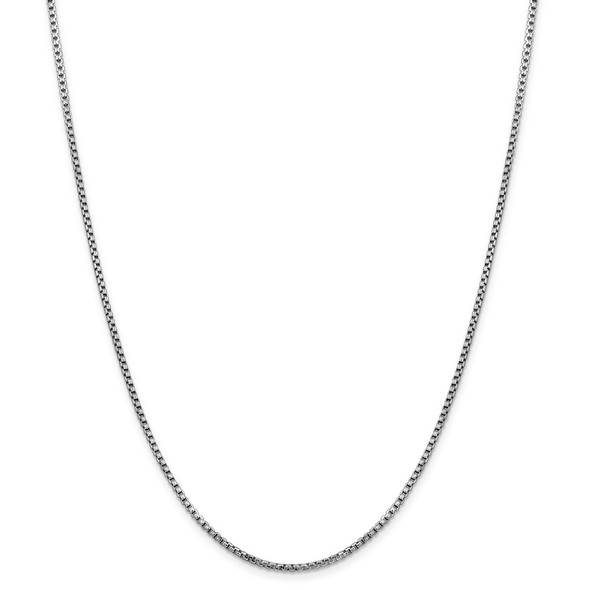 "7"" 14k White Gold 1.75mm Semi-Solid Round Box Chain Bracelet"