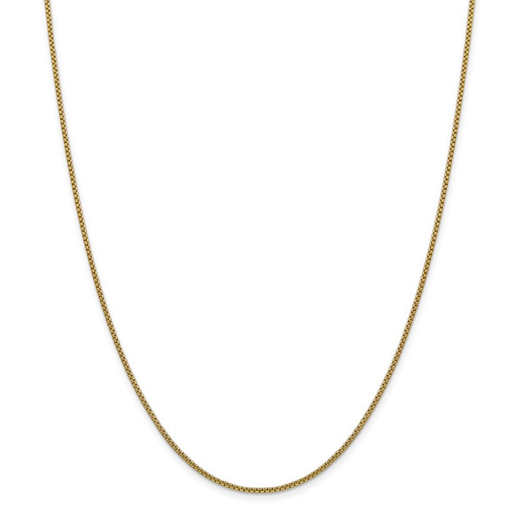 "7"" 14k Yellow Gold 1.5mm Semi-Solid Round Box Chain Bracelet"