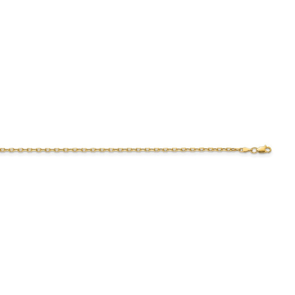 """20"""" 14k Yellow Gold 3mm Semi-solid Diamond-cut Open Link Cable Chain Necklace"""