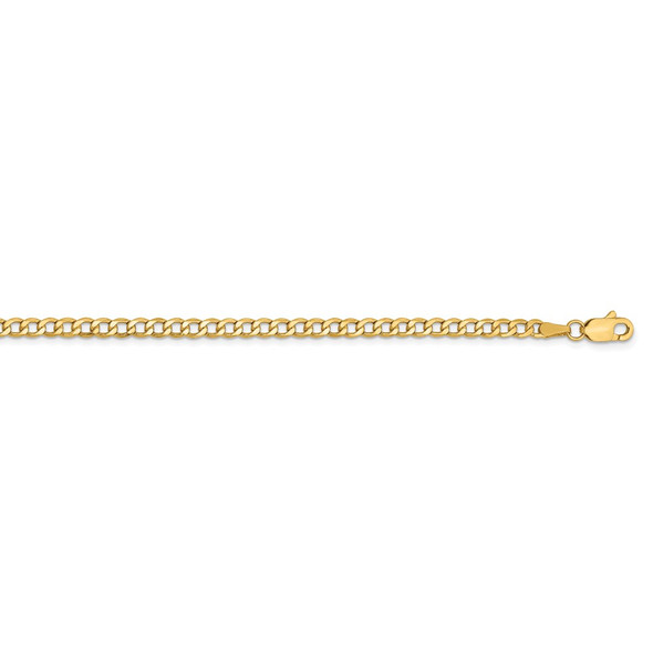 """10"""" 14k Yellow Gold 2.85mm Semi-Solid Curb Chain Anklet"""