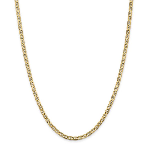 """10"""" 14k Yellow Gold 3.75mm Concave Anchor Chain Anklet"""