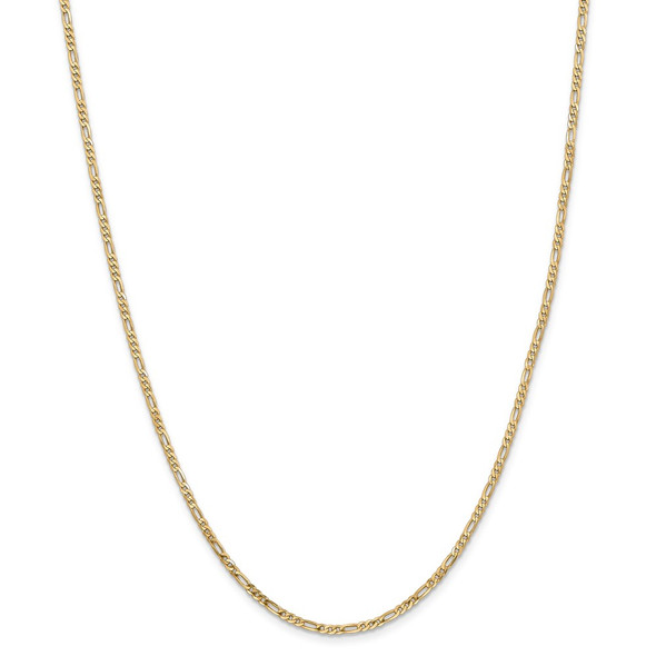 """14"""" 14k Yellow Gold 2.25mm Flat Figaro Chain Necklace"""