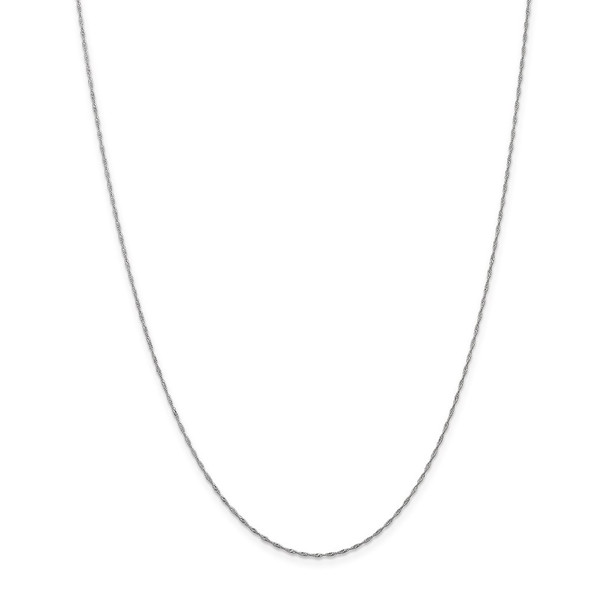 "6"" 14k White Gold 1mm Singapore Chain Bracelet"