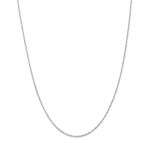 "10"" 14k White Gold 1.1mm Singapore Chain Anklet"