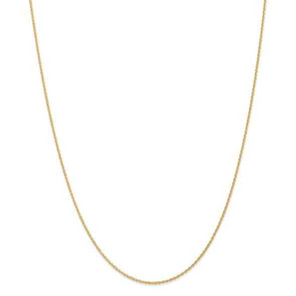 """14"""" 14k Yellow Gold 1.1mm Baby Rope Chain Necklace"""
