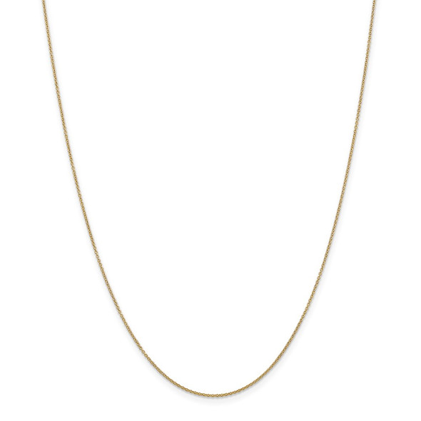 """10"""" 14k Yellow Gold .9mm Cable with Spring Ring Clasp Chain Anklet"""