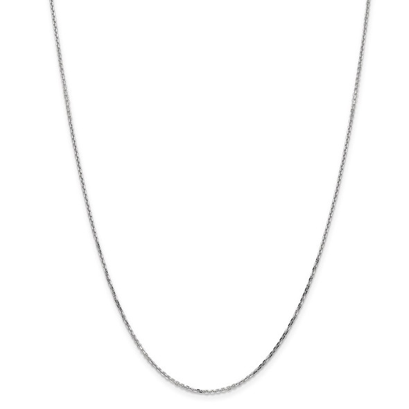 """14"""" 14k White Gold 1.4mm Diamond-cut Round Open Link Cable Chain Necklace"""