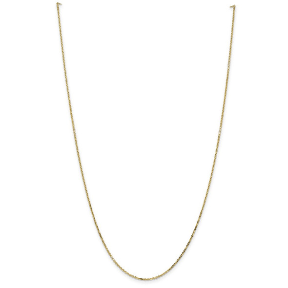 """10"""" 14k Yellow Gold 1.4mm Diamond-cut Round Open Link Cable Chain Anklet"""