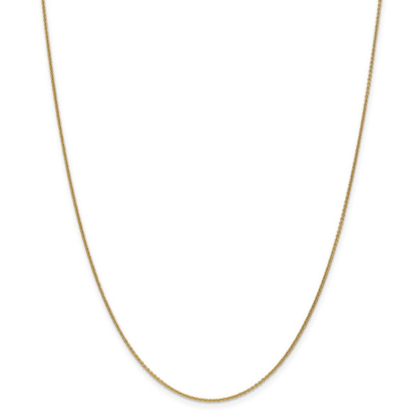 """10"""" 14k Yellow Gold 1mm Round Open Link Cable Chain Anklet"""