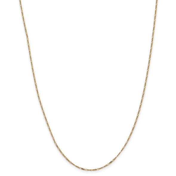 """13"""" 14k Yellow Gold 1.25mm Flat Figaro Pendant Chain Necklace"""