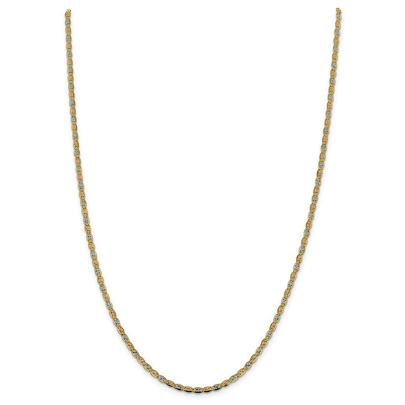 "22"" 14k Tri-color Gold 2.75mm Rose & White Rhodium-plating Pave Valentino Chain Necklace"