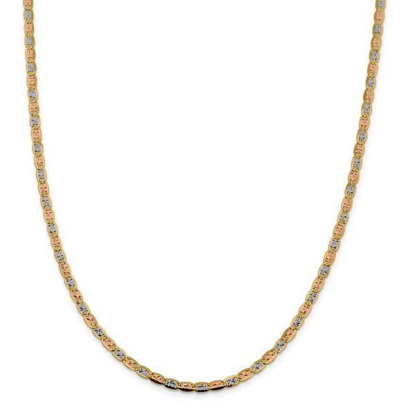 "22"" 14k Tri-color Gold 3.8mm Rose & White Rhodium-plating Pave Valentino Chain Necklace"