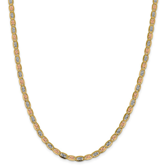 "22"" 14k Tri-color Gold 4.65mm Rose & White Rhodium-plating Pave Valentino Chain Necklace"