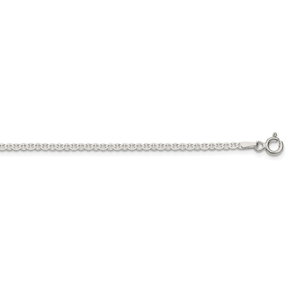 """16"""" Sterling Silver 2.25mm Flat Anchor Chain Necklace"""